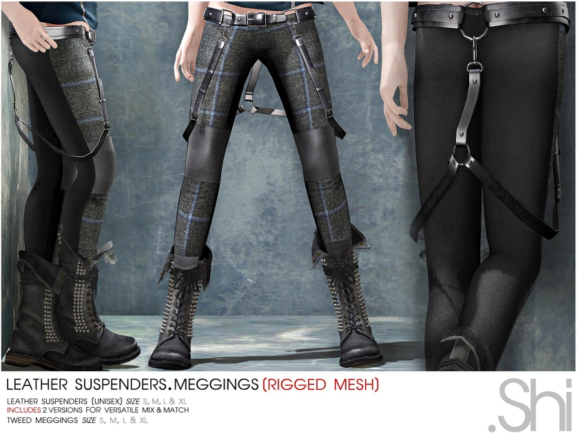 .Shi Leather Suspenders & Meggings